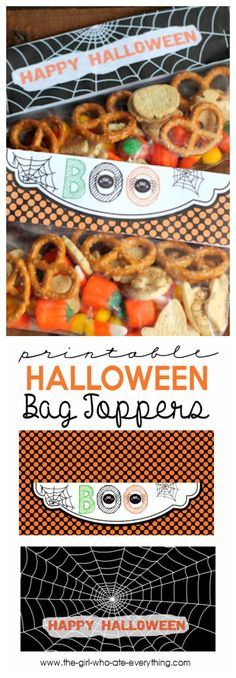 How cute are these Halloween treat bag toppers. Fill a bag with your favorite treat and staple these printable Halloween toppers over the top. the-girl-who-ate-everything.com