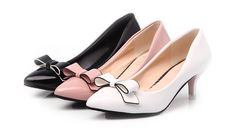 - Cute ribbon bow kitten heels for a stylish look - Comfortable breathable upper - Made from PU - 5.5 cm heel height - Available in 2 colors