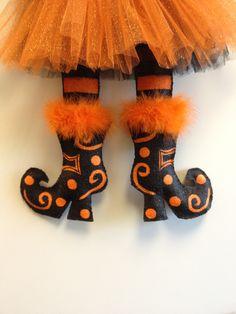 Witches Legs Burlap Door Hanger. $30.00, via Etsy.