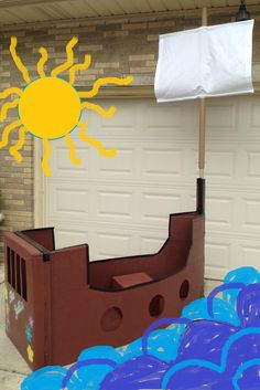 Cardboard Pirate Ship made with imagination, a refrigerator box, paint, tape, and a super sharp razor knife. Pirate Theme, Pirate Party, Cardboard Pirate Ship, Homemade Pirate Costumes, Baby Calendar, Transportation Party, Science Projects For Kids, Afternoon Delight, Princess Theme