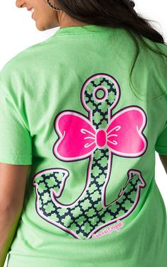 Girlie Girl Originals Women's Lime Green with Bow Anchor Short Sleeve Tee