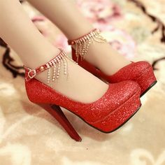 Wedding shoes red bride wedding shoes crystal rhinestone princess gold silver high-heeled shoes wedding shoes http://www.echopaul.com/