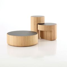 Levels tables by Lucie Koldova and Dan Yeffet for Per/Use The oak-and-glass tables jigsaw together to form a tightly packed trio and can be separated when the mood strikes.    This originally appeared in Levels tables.