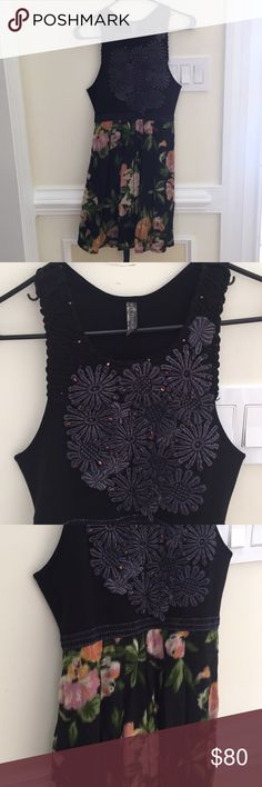 NWOT Free People navy floral embroidered dress Great for spring / summer Free People Dresses Mini