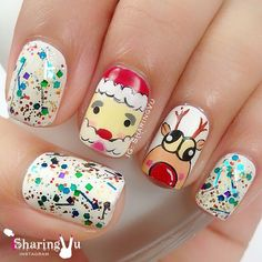 Adorable Santa & Reindeer Christmas Mani with Glitter of Course! Just Too Cute!