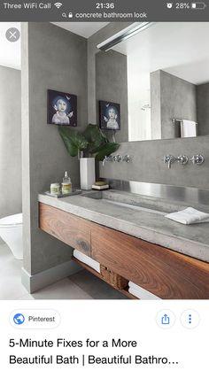 Concrete Bathroom, Double Vanity, Tricks, Bathroom Lighting, Mirror, Interior, Furniture, Home Decor, Budget