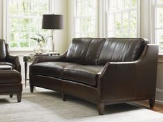 Slightly curved two-over-two sofa perfect for conversation #LHBDesign #LexingtonFurniture #Leatherlove