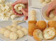 These Potato cheese balls are so yummy and everyone loves them, they are easy to make, they don't require many ingredients and you can add anything with them to vary the flavors, with no further here are the ingredients and… Potato Cheese Balls Recipe, Cheese Ball Recipes, Cheese Rice, Cooking Time, Cooking Recipes, Food Porn, Cuisine Diverse, Good Food, Yummy Food