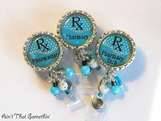 Pharmacy Retractable Badge Reel - Professional ID Reel - Beaded Badge Pull - Unique ID Holder - Classy Name Tag Holders Pharmacy School, Pharmacy Humor, Pharmacy Technician, Pharmacy Assistant, Pharmacy Gifts, Id Badge Reels, Name Badges, Id Holder, Crystal Beads
