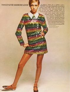 60sfashionandbeauty:    Twiggy in a sequin rainbow mini in Ladies Home Journal, June 1967. (♥)