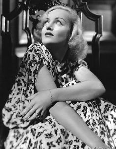 """The lovely Carole Lombard, who died in a plane crash on this date (January 16th) in 1942, while returning from a war bond rally in her home state of Indiana. Her last words to all the people, just before boarding the plane, """"Before I say goodbye to you all - come on - join me in a big cheer- V for victory!"""" She was 33 years old."""