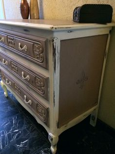 Chalk paint dresser. Coco (mixed with old white)  and pure white.