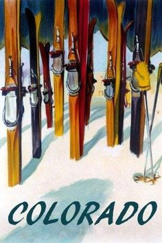 "Ski Skiing Colorado Fashion Travel Tourism Fine Winter Sport 20"" X 30"" Image Size Vintage Poster Reproduction, We Have Other Sizes Available on Amazon by Heritage Posters, http://www.amazon.com/dp/B006VGGP8I/ref=cm_sw_r_pi_dp_iUWIrb12WAS4N"