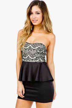 Bonded Lace Peplum Dress