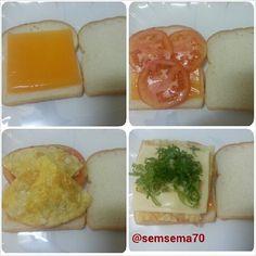 توست محشي جبن شرايح وحلقات  من الطماطم وبيض أومليت ثم قطعة ثانية من الجبن والخس وتحمص علي  شواية التوست •••• صباح الورد أحبتي ••• صباح النشاط ••• #Padgram