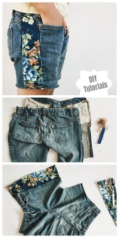 Refashion Hack - Turn worn jeans into DIY instructions for cropped jeans shorts - Boho… - Diyprojectgardens.club - Refashion Hack – Turn worn jeans into DIY instructions for cropped jeans shorts – Boho … - Diy Jeans, Shorts Diy, Jeans Refashion, Jeans To Shorts, Diy Lace Jean Shorts, Cropped Jeans, Refashion Dress, Sweatshirt Refashion, Patterned Shorts