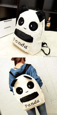 Lovely Plush Cartoon Panda Backpack&Schoolbag for big sale! #panda #animal #lovely #backpack #bag #school #student #college #girl #travel #leisure