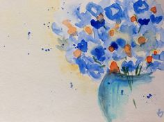 Aquarell Blumen Aquarellpostkarte Blumenstrauß