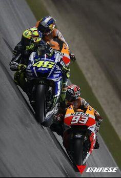 Marc Marquez & Valentino Rossi - two of only four riders to have won world championship titles in 3 different categories Motogp Valentino Rossi, Valentino Rossi 46, Marc Marquez, Motorcycle Racers, Racing Motorcycles, Course Moto, Gp Moto, Hot Bikes, Super Bikes