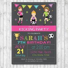 Soccer Girls Birthday Invitation Card Digital by funkymushrooms