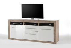 TV Kommode Lana III Hochglanz Weiß und Sanremo Sand passend zum Möbelprogramm Lana 1 x TV Kommode mit 2 Schubkästen 3 Receiverfächern und 2 Türen Maße:...