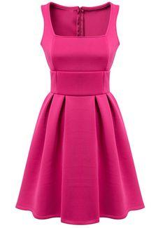 Sleeveless Pleated Slim Pink Dress
