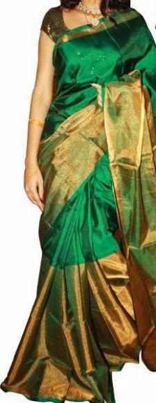 Half Silk Half tissue Saree Indian Silk Sarees, Pure Silk Sarees, Ethnic Outfits, Indian Outfits, Indian Attire, Indian Wear, India Fashion, Fashion Wear, Traditional Silk Saree