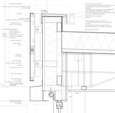 Hotel Agglo / Gardera-D Architecture arrow/line detail Technical Architecture, Detail Architecture, Architecture Student, Architecture Drawings, Curtain Wall Detail, Roof Detail, Window Detail, Construction Drawings, Detailed Drawings