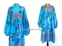 80s Vintage Indus Imports Indian Cotton Gauze Boho Hippie Caftan Gypsy Ethnic Festival Maxi Tent Dress . SM . 751.2.23.14