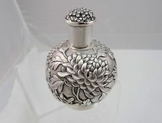 c. 1850-1899 LW Chinese Export Silver Repousse Hand-Stippled Royal Chrysanthemum Tea Caddy 6.4oz | eBay
