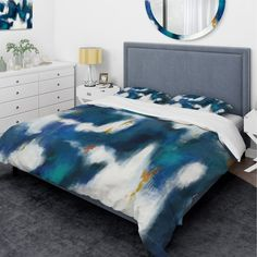 Designart 'Blue Glam Texture II' Glam Bedding Set - Duvet Cover & Shams (King Cover + 2 king Shams (comforter not included)/King - 3 Piece), DESIGN Pillow Top Mattress, Comforter Cover, Mattress Pad, Duvet Covers, Glam Bedding, White Bedding, Bedding Sets, Luxury Bedding, Duvet Cover Design