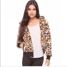 SALE New Forever 21 animal print jacket Zip-up hooded animal print jacket. Slightly cropped. Size Small. Brand new without tags.  Forever 21 Jackets & Coats