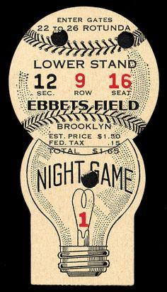 1938 Brooklyn Dodgers Ticket Stub