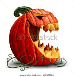 Halloween pumpkin and scary jack o lantern character in a side view with an open mouth on a white background as a symbol for fall and autumn festive communication with 3D illustration elements.