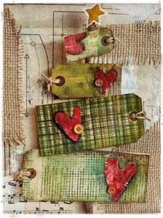 Adorable Christmas tree made of ... tags!!!! Stephanie Ackerman canvas and tutorial at Homegrown Hospitality!