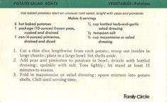 Potato-Salad Boats Recipe Card   RecipeCurio.com