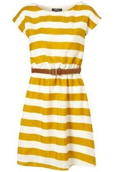 yellow striped dress! this would be cute with bold colored (red or blue) flats!