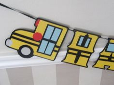 School Bus HAPPY BiRTHDAY Banner  Yellow and Black by Devany, $25.00