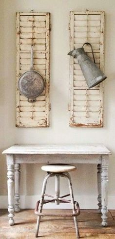 Old stool, table and shutters put together. Shabby Chic Projects You Can Do Yourself How To | DIY Project Difficulty: Simple MaritimeVintage.com #ShabbyChic #Shabby #chic