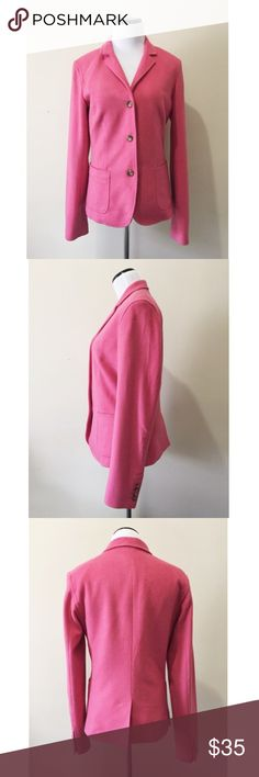 "J Crew Pink Felted Wool 3 Button Blazer Jacket Bubblegum pink wool blazer with tortoise resin buttons. 3-Button style. Fully lined, good condition with one minor stain on the inside right sleeve.  Tall medium  Bust: 18"" Waist: 16.5"" Length: 25""  Shell: 76% Wool / 22% Nylon / 2% Cashmere Lining: 100% Acetate J. Crew Jackets & Coats Blazers"