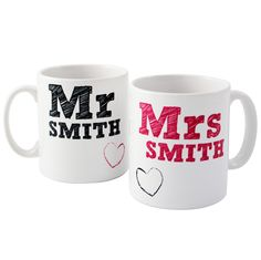 Mr & Mrs mug set - You not have your first cup of tea as mr and mrs in these lovely personalised mugs.. £15 for the set