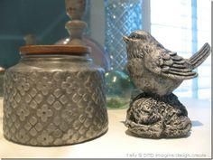 Faux zinc jar & bird