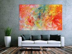 Abstraktes Acrylgemälde modern bunt hell viele Farben 120x200cm von xxl-art.de