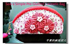 Sew a Pre-Quilted Semi-Circle Cosmetic Bag