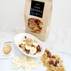 Just Good Granola, toasted coconut milk, banana, delicious vanilla almond butter, and topped with raw honey! Banana Granola, Best Granola, Almond Butter, Almond Milk, Coconut Milk, Raw Honey, Toasted Coconut, Glutenfree, Dairy Free