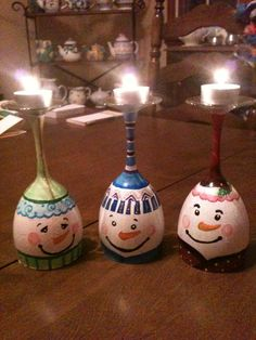 wine glass candle holders I made :) easy winter craft