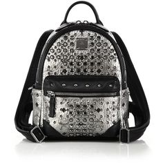 MCM Diamond Visetos Mini Coated Canvas Backpack (£985) ❤ liked on Polyvore featuring bags, backpacks, mcm, apparel & accessories, silver, diamond bag, mcm backpack, coated canvas backpack and backpacks bags
