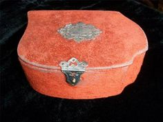 Antique French Sewing Box Contents Threads etc Orange Velor Velvet | eBay