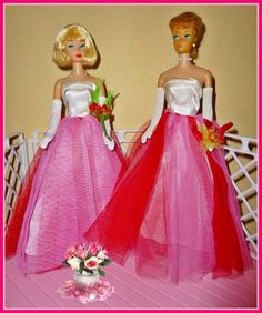 Repro campus Sweetheart and A.G. Barbie next to original fashion on Vintage pony tail