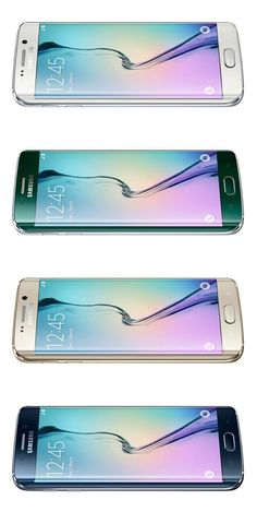 The four colour schemes of the Samsung Galaxy S6 Edge, White Pearl, Green Emerald, Gold Platinum and Black Sapphire. #s6edge #galaxys6edge #samsunggalaxys6edge